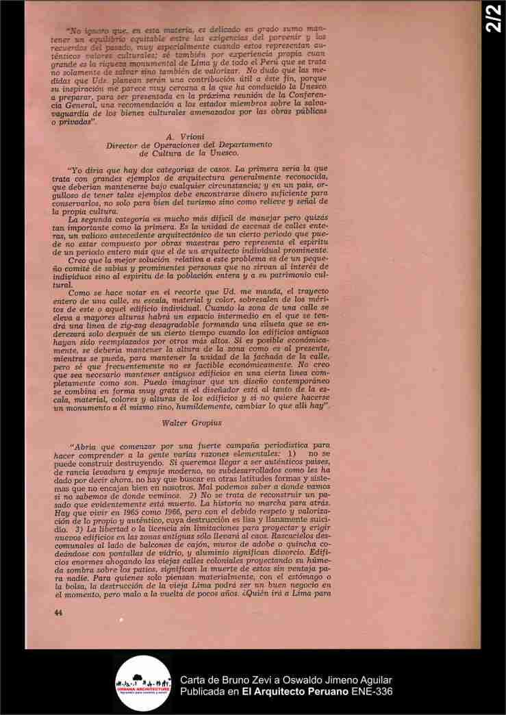 Carta de Bruno Zevi 1965. Publicada en El Arquitecto Peruano ENE-336